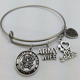 Army Wife Stainless Steel (Expandable) Bangle Charm Bracelet - Hero Gifts