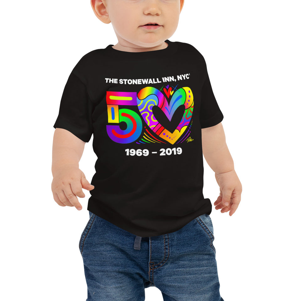 Love 50 Baby Jersey Short Sleeve Tee with Tear Away Label