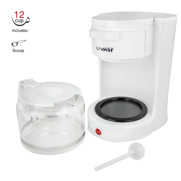 Livart Coffee Maker LCM-15 12CUP 1.5L White, Free shipping (Excluding HI, AK)