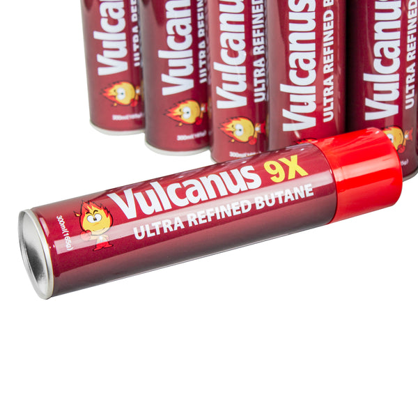 Vulcanus 9X Ultra Refined Butane Gas, Contents 12 x 300ml canisters (1BOX), Made in Korea