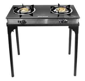 "Vulcanus 2-23G Double cast Iron Glass Burner, V-BS02 Three and Two Burner Stand. 28.5 x 15.5 x 28.5"", Free shipping (Excluding HI, AK)"