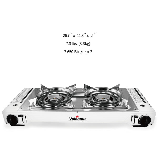 Vulcanus LMSD-5800 Portable double burner gas stove, Free shipping (Excluding HI, AK)