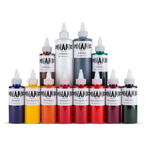 OG Tattoo Ink Color Set - 4oz Bottles plus a 8oz Black and a 8oz White