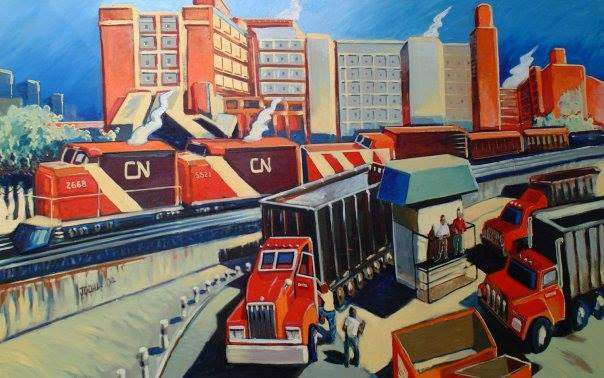 Oil /Canvas Train,Detroit,Canadian National,