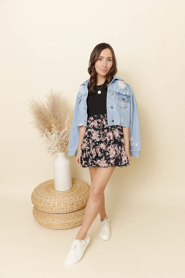 East Coast Black Floral Skort