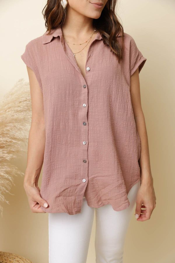 City Hopping Rose Linen Top
