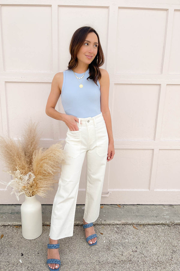 Sasha Off-White Wide Leg Jeans