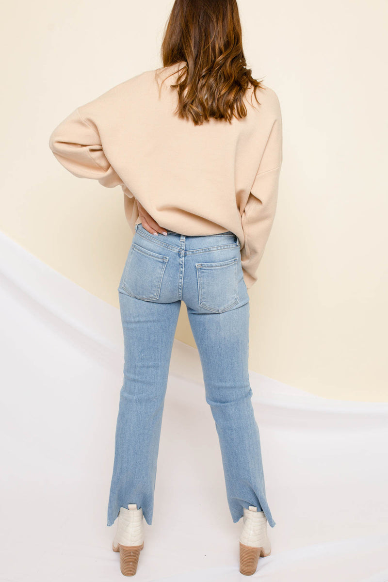 Nina Light Wash Flare Cropped Jeans