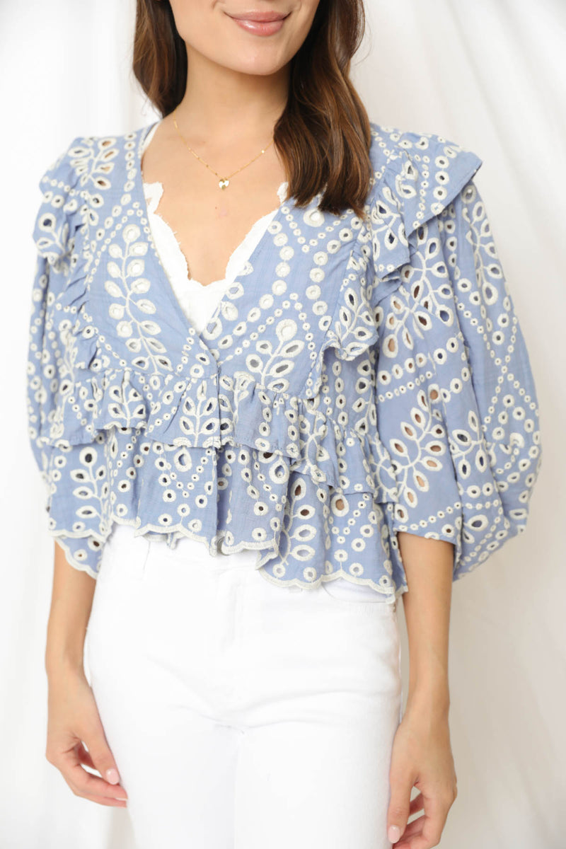New Found Love Eyelet Top