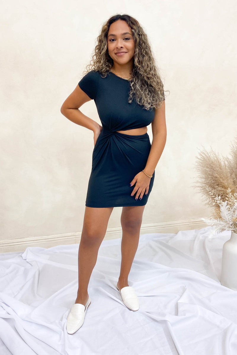 Kay Cutout Black Mini Dress