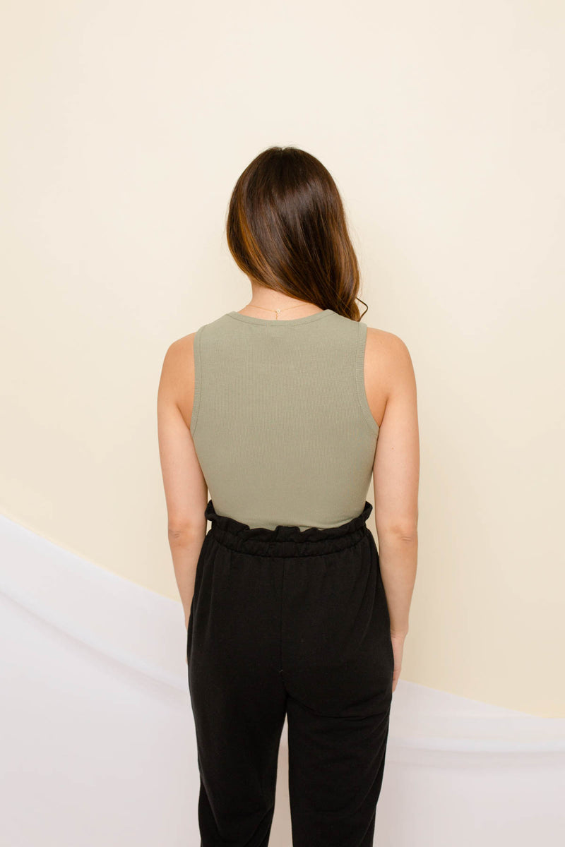 The Mila Ribbed Olive Bodysuit