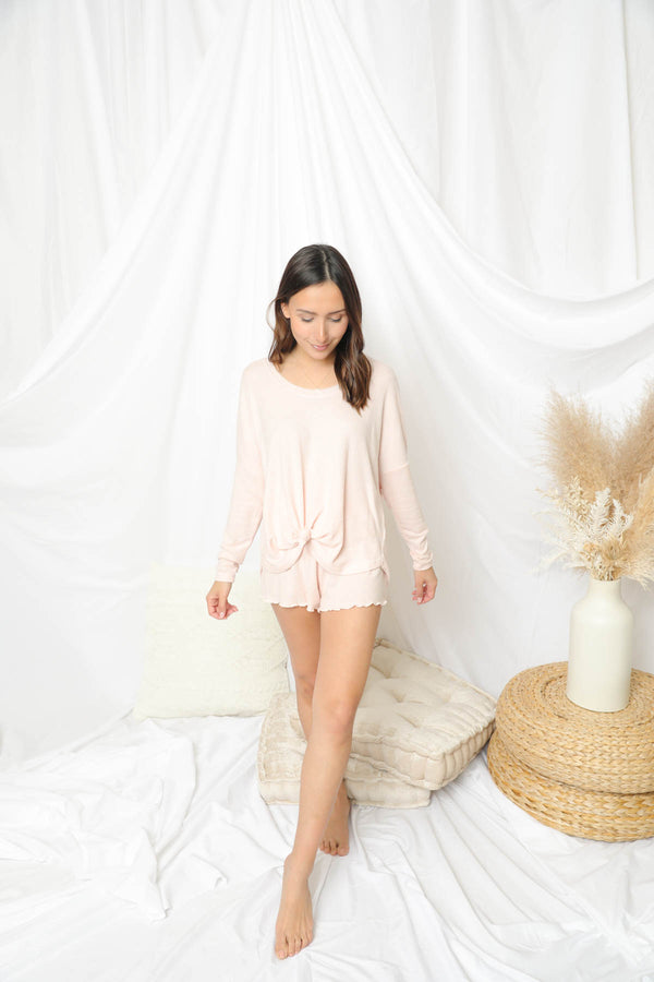 Z Supply Dawn Smocked Rose Quartz Shorts