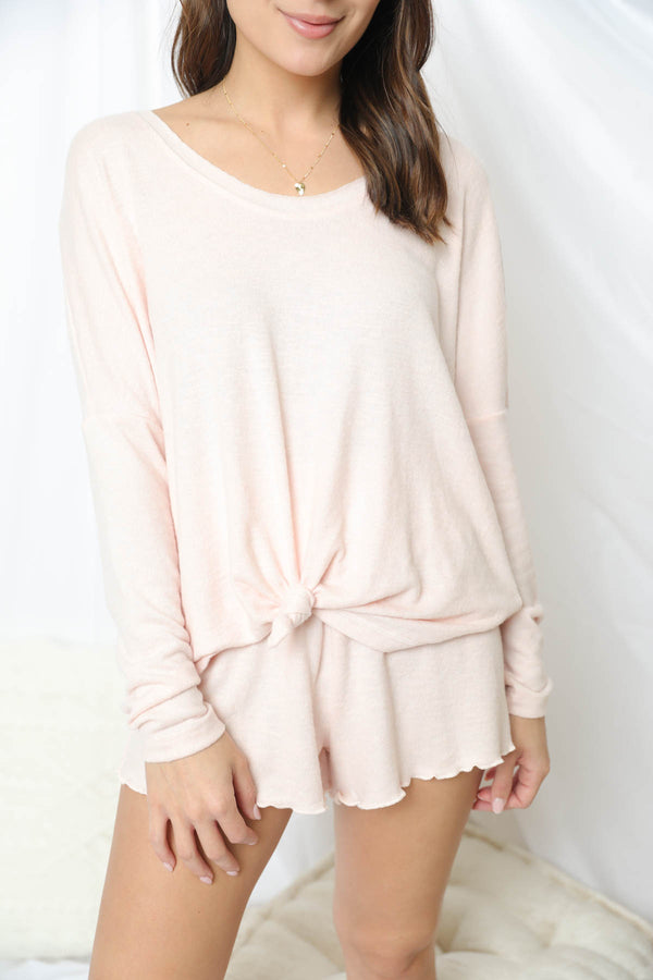 Z Supply Hang Out Rose Quartz Long Sleeve Top