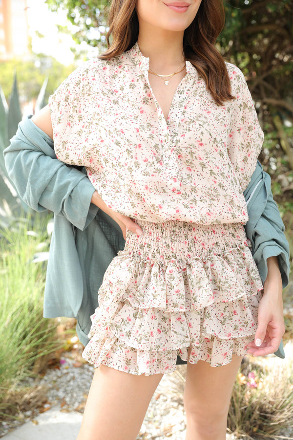 Secret Moments Cream Floral Dress