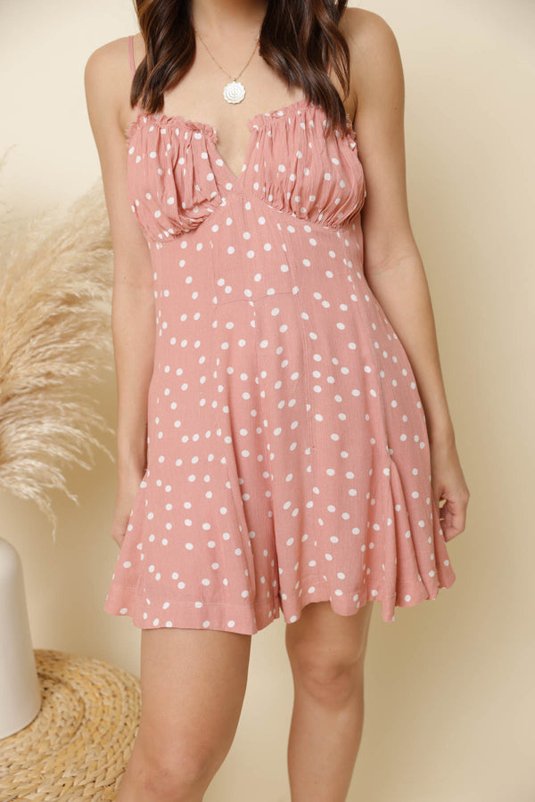 Dreams Coral Polka Dot Romper