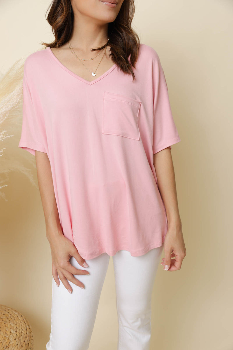 Dixie Pink Pocket Tee