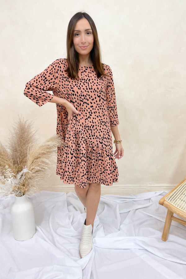 Just Show Up Salmon Printed Dress