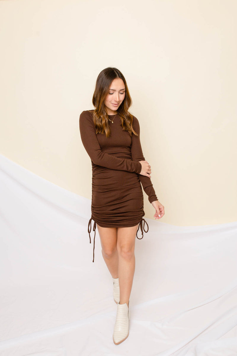 Ryder Brown Ruched Dress