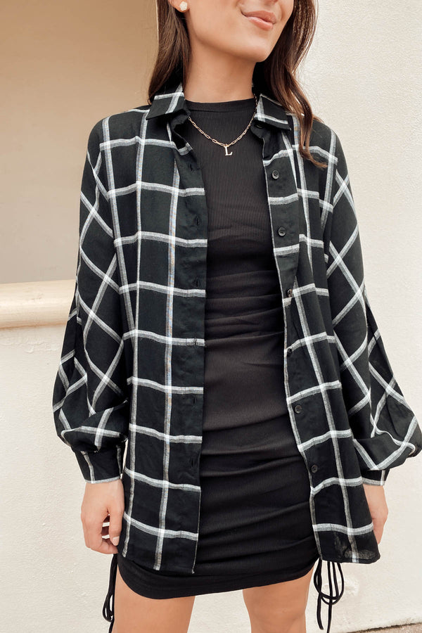 Midtown East Black Plaid Top