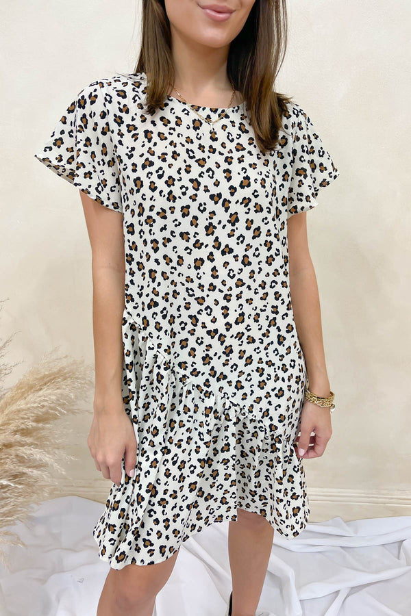 Hot Latte, Please Cream Printed Dress
