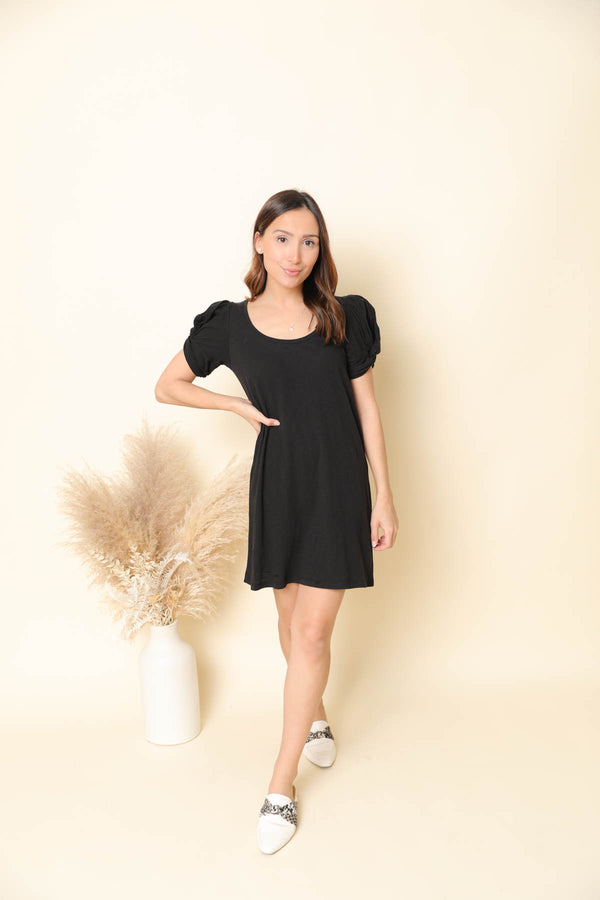 Z Supply Indi Slub Puff Sleeve Black Dress