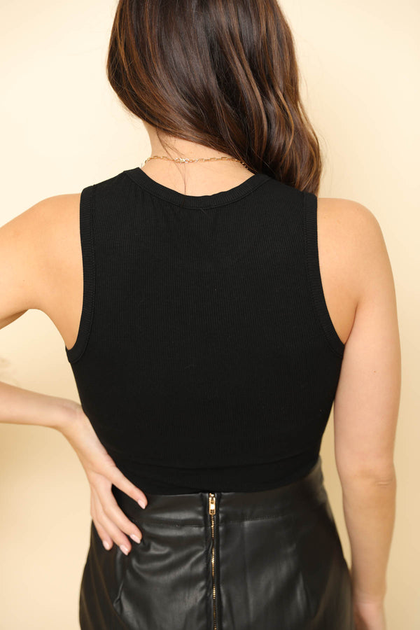 The Mila Ribbed Black Bodysuit