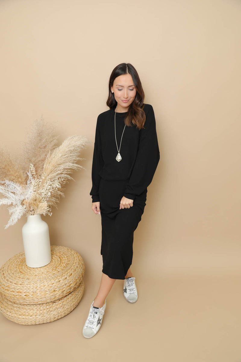 Laguna Beach Black Ribbed Sweater