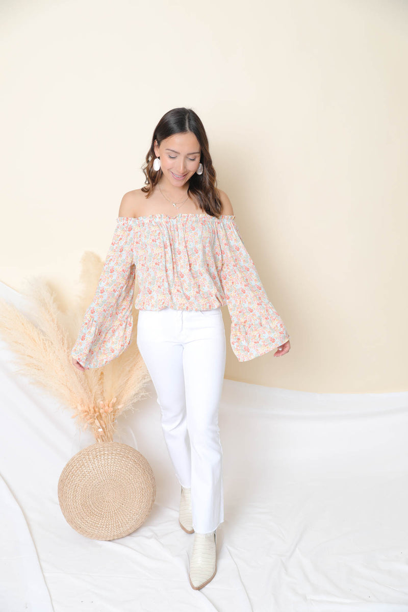 Sweet Glance Coral Floral Top