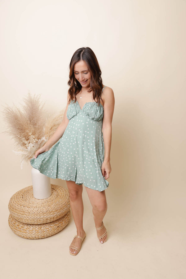 Dreams Sage Polka Dot Romper