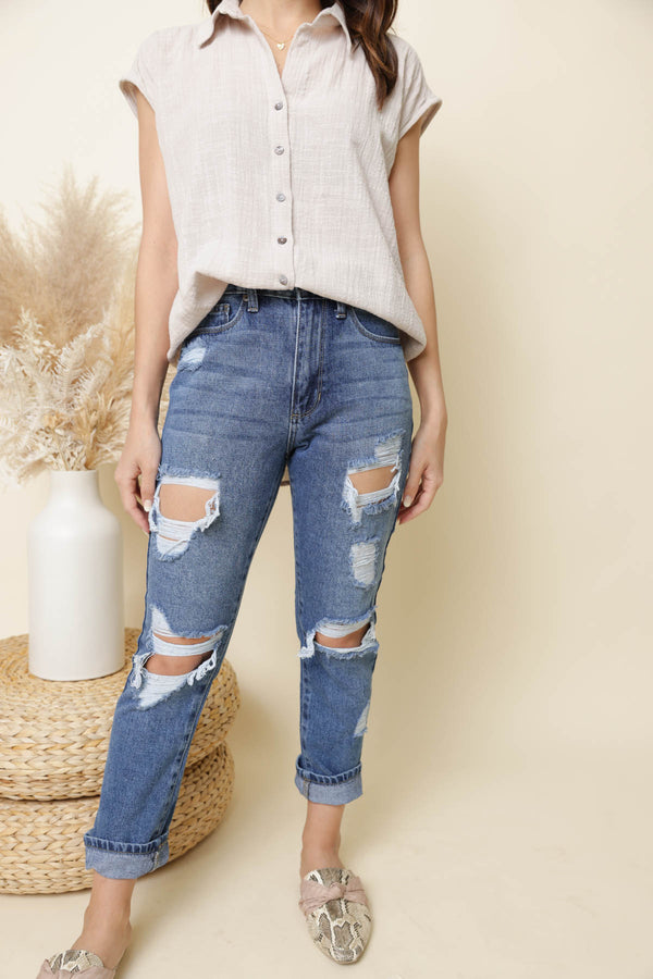 Lyla Distressed Medium Wash Girlfriend Jeans