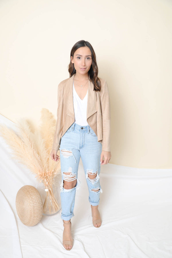 Suede It Out Tan Faux Suede Jacket
