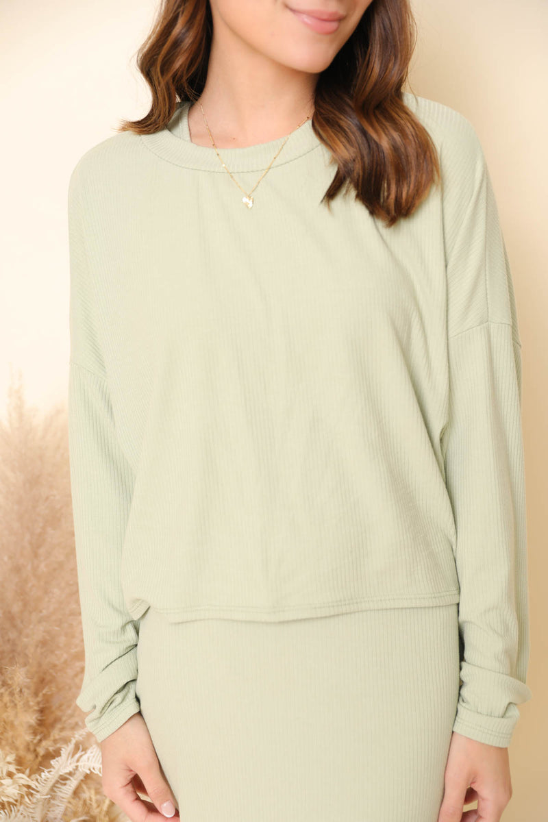 Laguna Beach Sage Ribbed Sweater