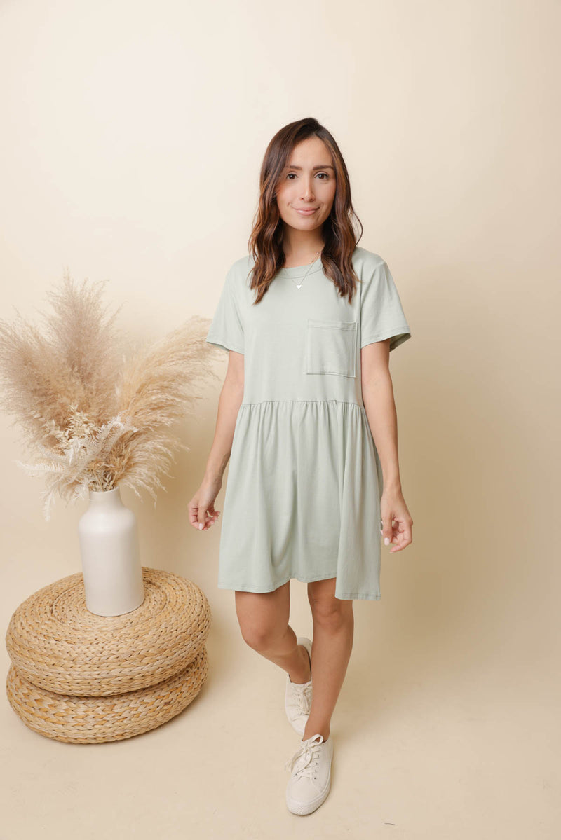Cora Sage Babydoll Dress