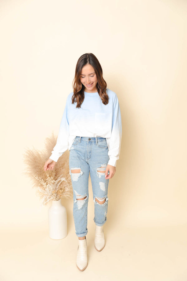 Janelle Blue Faded Pullover