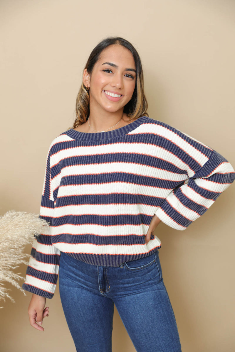 You Never Know Navy Striped Sweater