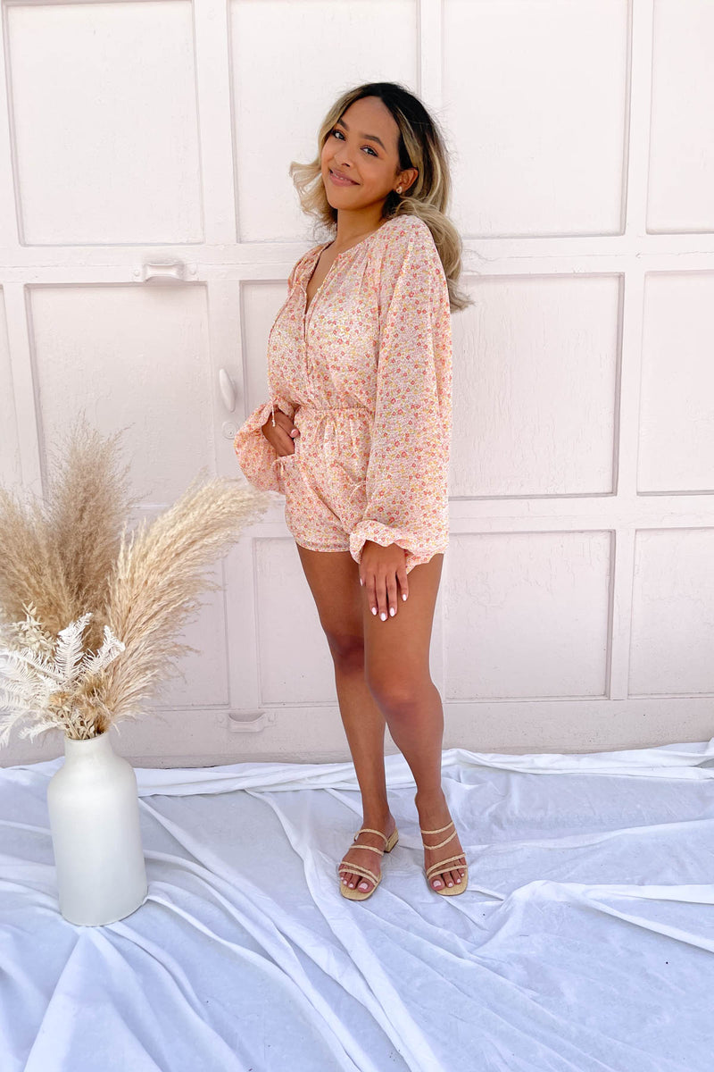 Better Days Coral Floral Romper
