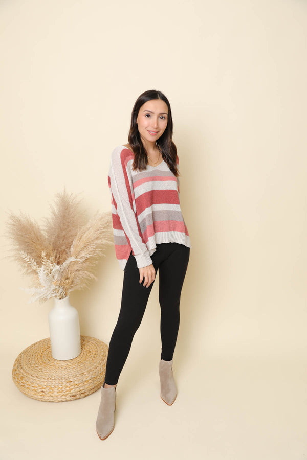 Put A Smile On Rust Striped Sweater