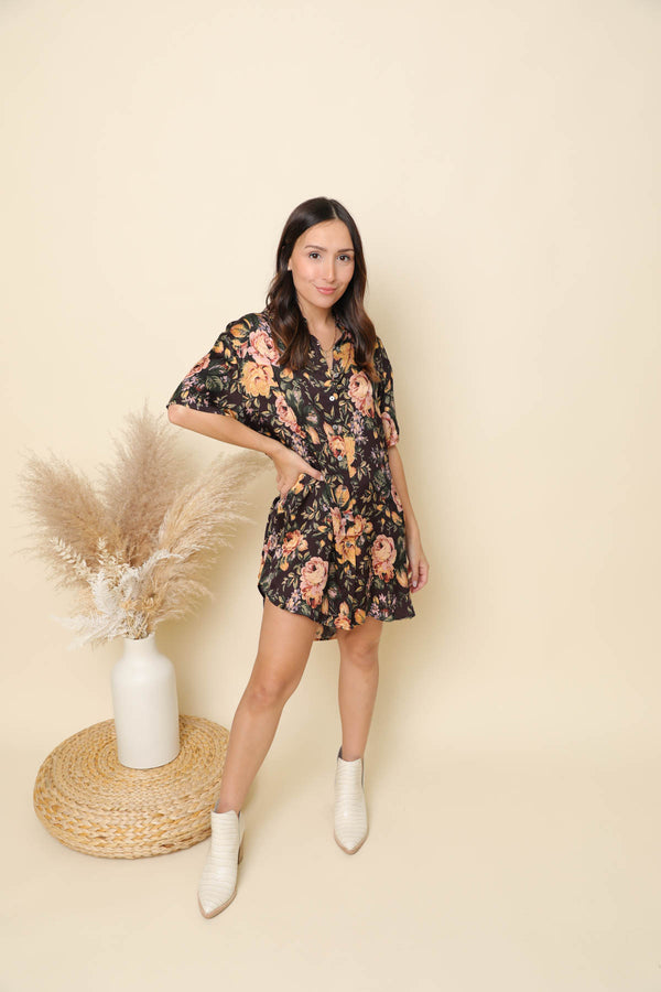 Meet Me At The Top Floral Shirt Dress
