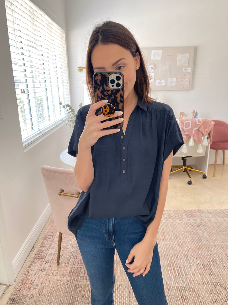 In a Timely Manner Navy Blouse
