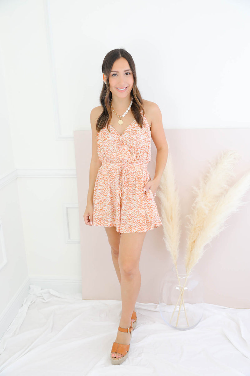 Sweet Disposition Coral Romper