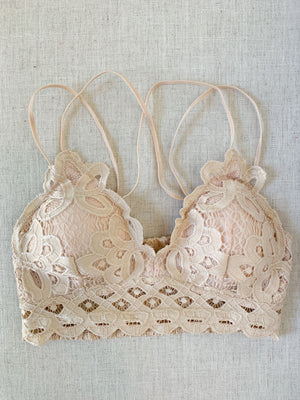 Scalloped Lace Bralette - Blush