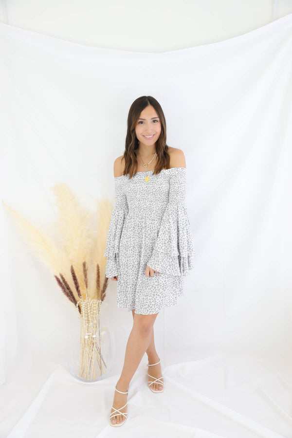 One Chance Smocked Dress - Silver