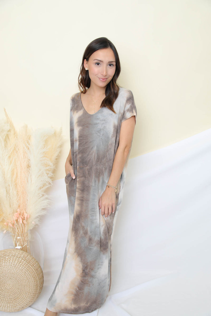 No Secrets To Be Told Taupe Dress
