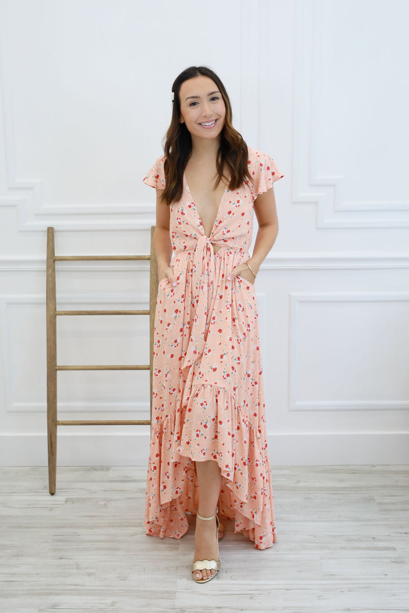 The Emma Tie Dress - Peach
