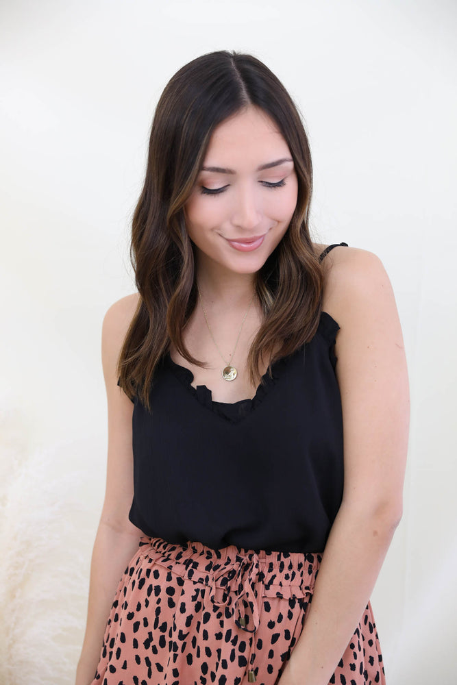 Perfect Timing Ruffle Cami - Black