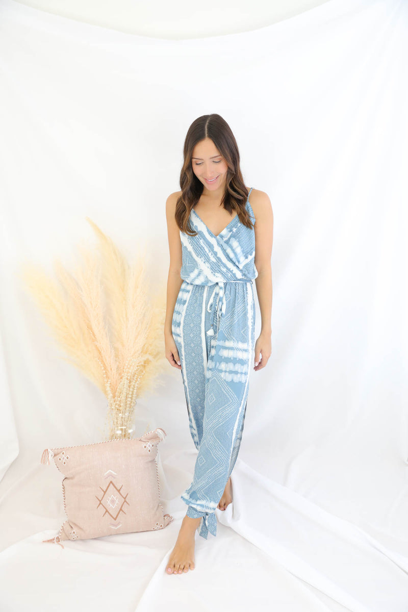 Pull Me Closer Printed Jumpsuit - Blue