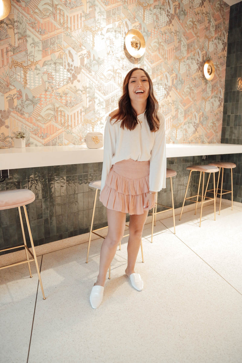 The Show Goes On Blush Ruffle Skort