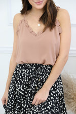 Perfect Timing Ruffle Cami - Taupe