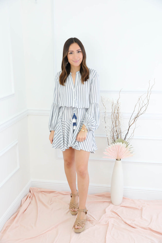 Up For The Adventure Blue Striped Dress