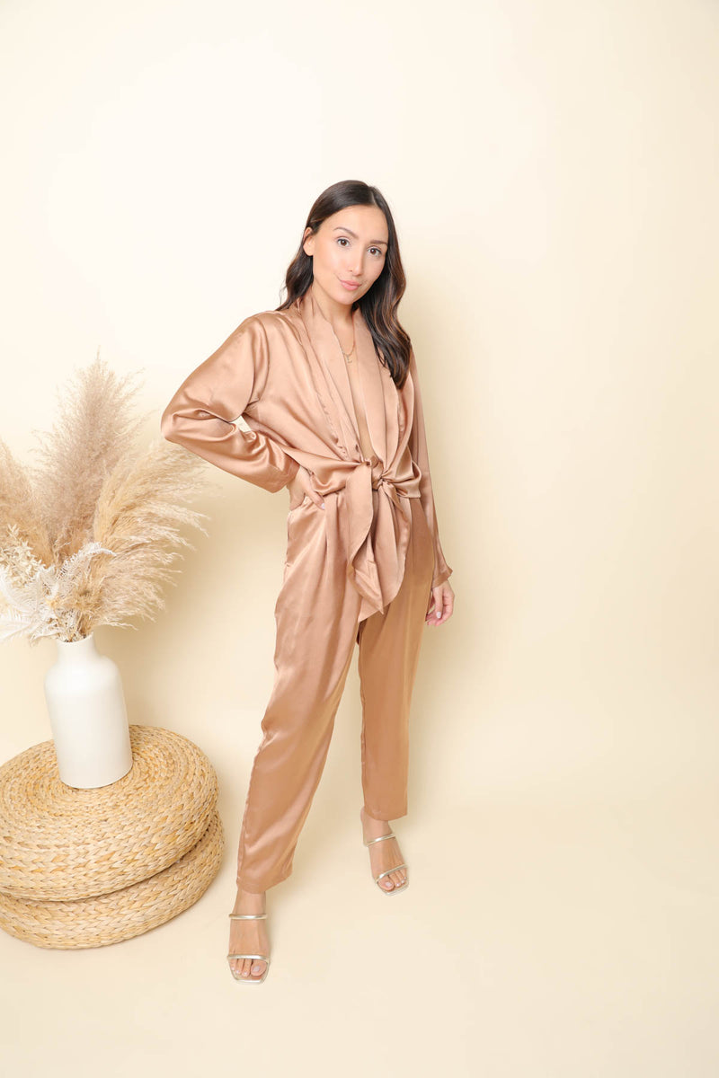 Took Me By Surprise Rose Gold Jumpsuit